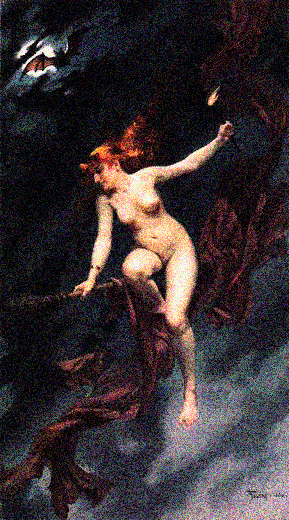 Nude Wicca Witch with Bat
