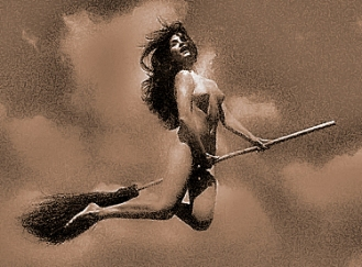 Nude Witch on Broom